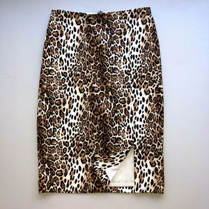 WHBM Animal Print Stretch Pencil Skirt Sz 0 NWT